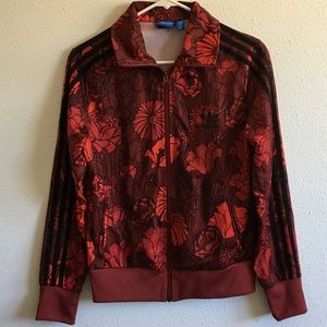 Adidas Retro Red Floral Women's Track Jacket